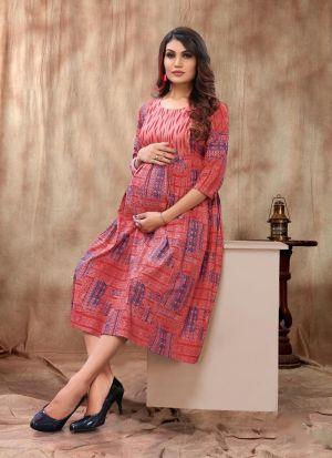 Baby Pink Printed Short Kurti For Women