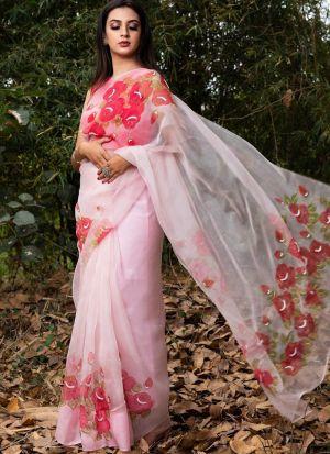 Baby Pink Pure Khadi Organza Printed Saree