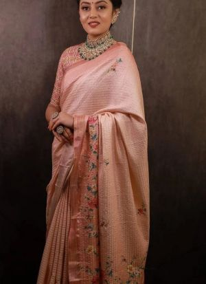 Baby Pink Sequence Work Printed Saree