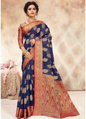 Banarasi Kora Silk Navy Indian Wedding Saree Collection