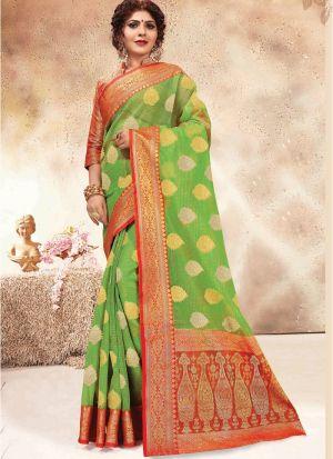 Banarasi Kora Silk Parrot Party Wear Saree Collection