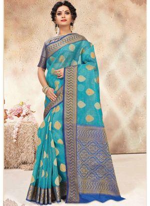 Banarasi Kora Silk Sky Blue Traditional Wedding Saree Collection