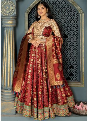 Banarasi Silk Lehenga Choli In Maroon Colour