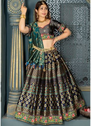 Banarasi Silk Lehenga Choli In Navy Blue Colour