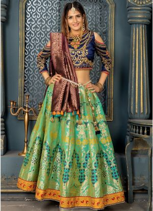 Banarasi Silk Lehenga Choli In Parrot Green Colour