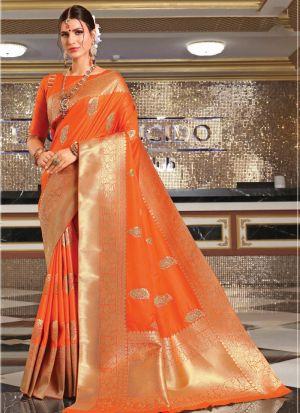 Banarasi Silk Orange Indian Saree Collection