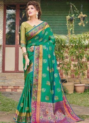 Banarasi Silk Rama Ceremonial Trendy Saree