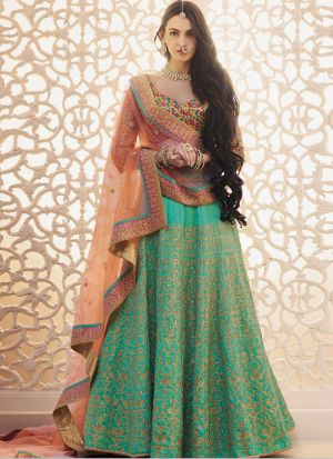 Bangalory Silk Pista Anarkali Lehenga With Thread Work And Fancy Blouse