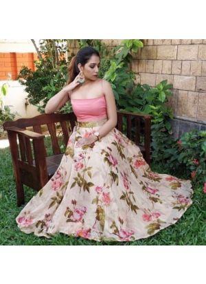 Banglory Satin Multi Color Classy Crop Top Lehenga Choli