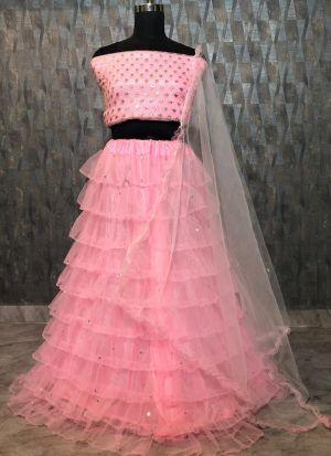 Beautiful Baby Pink Soft Mono Net Zari Embroidered Lehenga Choli