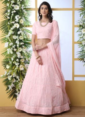 Beautiful Design Baby Pink Georgette Lehenga Choli