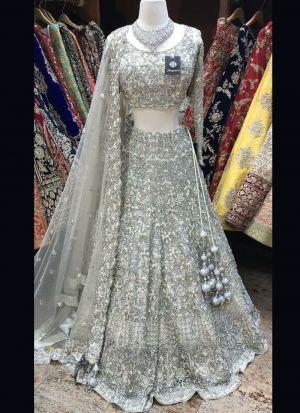 Beautiful Embroidered Grey Lehenga Choli