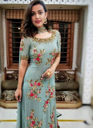 Beautiful Georgette Suit In Turquoise Grey
