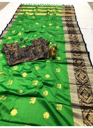 Beautiful Light Green Color Cotton Silk Saree