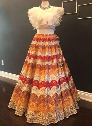 Beautiful Multi Color Color Digital Printed Festive Wear Lehenga Choli