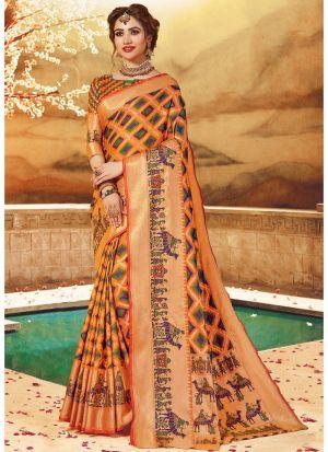 Beautiful Multi Color Pure Handloom Silk Saree