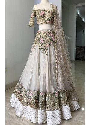Beautiful Off White Embroidered Sequnce Thread Work Net Designer Lehenga