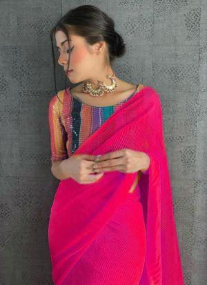 Beautiful Pink 60 Gm Georgette Saree
