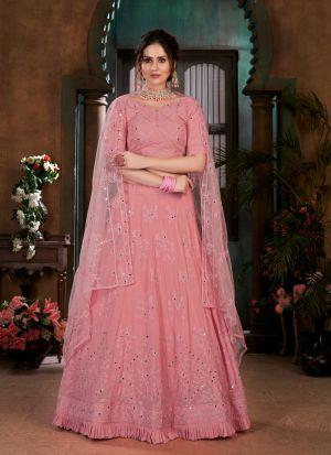 Beautiful Pink Georgette Lehenga