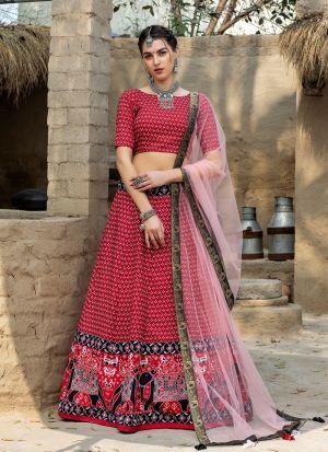 Beautiful Printed Red Art Silk Lehenga Choli