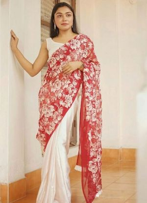 Beautiful Red Faux Georgette Saree