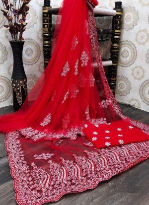 Beautiful Red Nylon Mono Net Saree