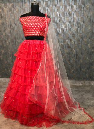Beautiful Red Soft Mono Net Zari Embroidered Lehenga Choli
