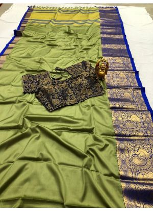 Beautiful Sage Color Cotton Silk Saree