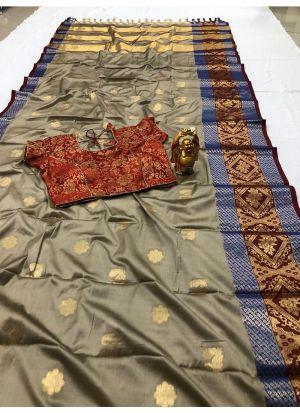 Beautiful Silver Color Cotton Silk Saree