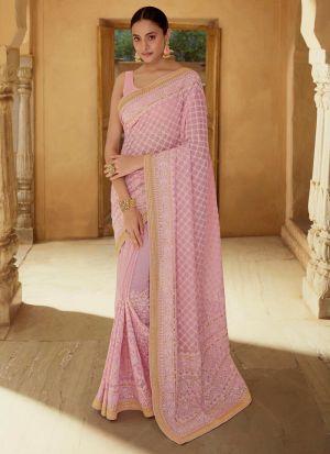 Beautiful Thread Work Baby Pink Saree