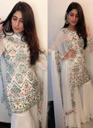Beautiful White Embroidered Georgette Bollywood Style Palazzo Suit