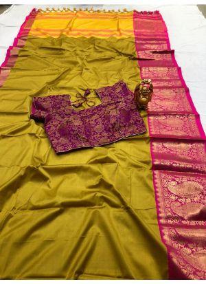 Beautiful Yellow Cotton Silk Saree