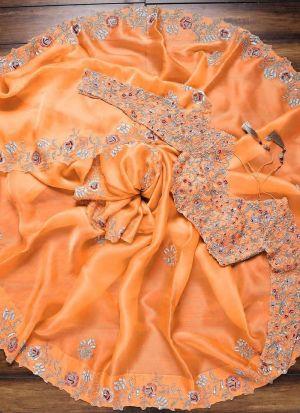 Beautous Light Orange Multi Work Saree