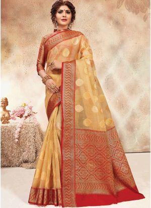 Beige Banarasi Kora Silk Indian Traditional Saree Collection