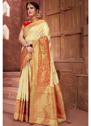 Beige Crystal Silk Designer Traditional Saree For Wedding