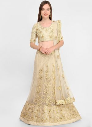Beige Designer Wedding Lehenga Choli With Net Fabric