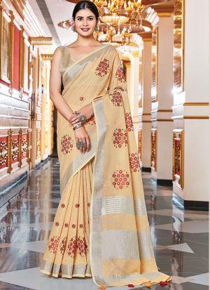 Beige Linen Weaving Work Saree