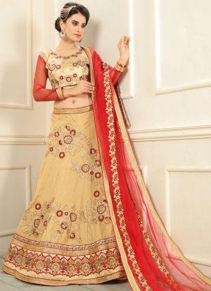 Beige Silk Indian Wedding Lehenga Choli