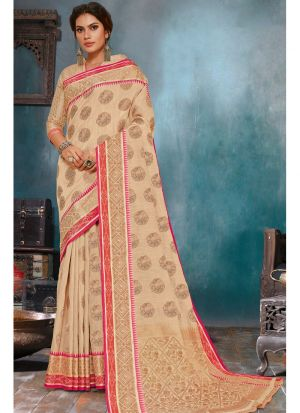 Beige Soft Linen Silk Festive Wear Traditional Saree