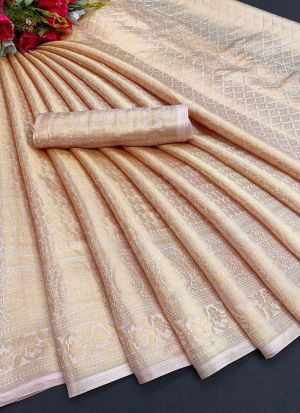 Beige Soft Silk Fashionable Saree