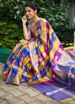 Bhelpuri Multi Color Silk Woven Saree Collection
