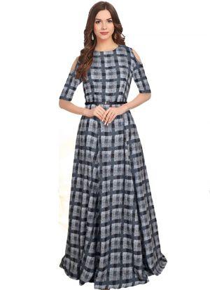 Black American Crepe Designer Gown