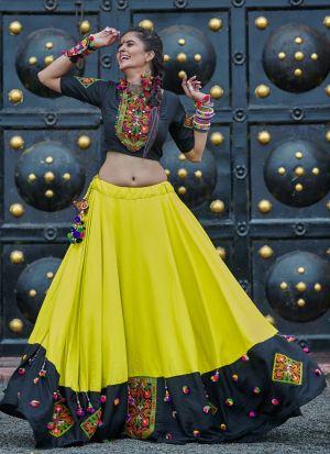 Black And Green Color Gujarati Chaniya Choli Navratri