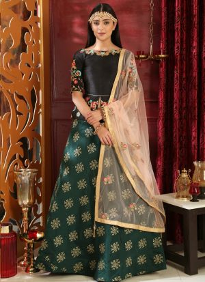 Black And Green Latest Indian Designer Lehenga Choli For Engagement Party