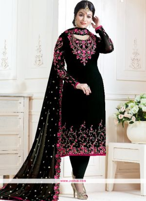 Black And Pink Embroidered Georgette Bollywood Salwar Suit