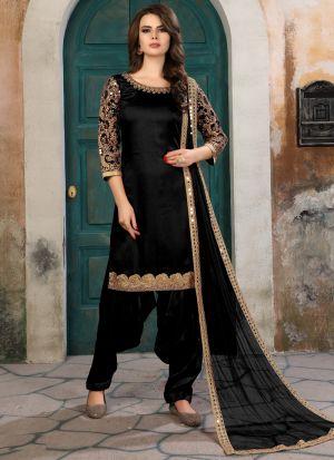 Black Art Silk Aanaya New Design Punjabi Suit
