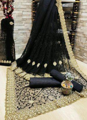 Black Banglori Silk Emroidery Saree
