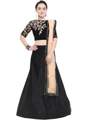 Black Designer Wedding Lehenga Choli With Velvet Fabric