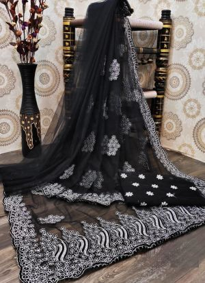Black Embroidery Nylon Mono Net Saree