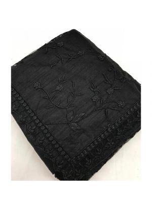 Black Fancy Thread Work Naylon Net Designer Saree
